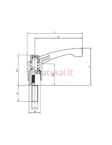 Fiksavimo rankenėlė su varžtu M10x40