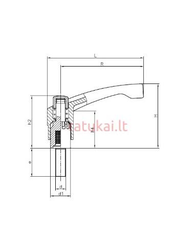 Fiksavimo rankenėlė su varžtu M12x60