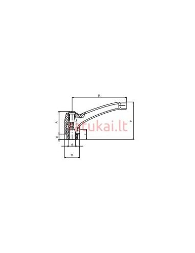 Fiksavimo rankenėlė su veržle M4 Steel